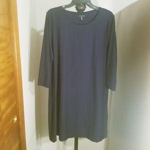 """Eileen Fisher Navy Blue 3/4"""" Sleeve Shift Dress"""